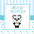 Cute panda on blue frame cartoon, Xmas postcard, wallpaper, and greeting card
