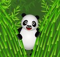 Cute panda cartoon in the nature Royalty Free Stock Images