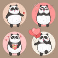 Cute Panda Character in love Royalty Free Stock Photo