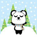 Cute panda enjoy snow fall vector cartoon, Xmas postcard, wallpaper, and greeting card