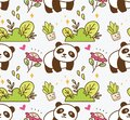 Cute panda with flower seamless background