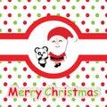 Cute panda and Santa Claus on polka dot background vector cartoon, Xmas postcard, wallpaper, and greeting card