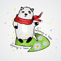 Cute Panda in a scarf. Caption: spring is here
