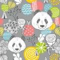 Cute panda seamless pattern on grey background.