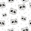 Cute panda seamless pattern, hand drawn forest background with flowers and dots, vector illustration.background for