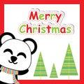 Cute panda smile and Xmas tree cartoon, Xmas postcard, wallpaper, and greeting card