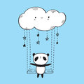 Cute panda on the swing.