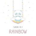 Cute panda swinging on a rainbow Royalty Free Stock Photo