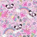 Cute panda unicorn pattern on a pink background. Colorful trendy seamless pattern. Fashion illustration drawing in modern style