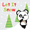 Cute panda is winking on snow background cartoon, Xmas postcard, wallpaper, and greeting card