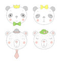 Cute pandas and bears girls and boys portraits Royalty Free Stock Photo