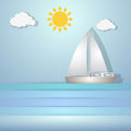 Cute paper boat vector illustration of ocean sun clouds and blue sky Stock Images