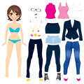 Cute paper doll game short hair brunette women clothing set collection Stock Photo