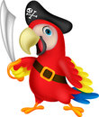 Cute parrot pirate cartoon illustration of Stock Image