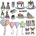 Cute party supply cartoon vector illustration motif set. Hand drawn party hat, present, unicorn cake and balloon. Pastel