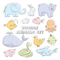 Cute pastel color vector cartoon doodle animals. Lovely sketch collection.