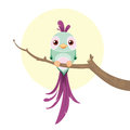 Cute pastel colored bird vector illustration of a green and purple sittin on a branch Stock Photos