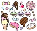 Cute Pastel Colored Desserts and Candies Vector Set