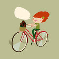 Cute patrick's day girl on bicycle. cartoon girl cycling. vector illustration
