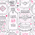 Cute pattern with doodle sweet mason jars. Valentines seamless background. Vector wishes jar with lettering. Love day hipster prin