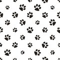 Cute paw seamless pattern, cat feet steps, pet design. Texture for wallpapers, fabric, wrap, web page backgrounds, vector Royalty Free Stock Photo