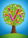 Cute pencil tree design colorful back to school conceptual vector file layered for easy manipulation and custom coloring Stock Photography