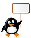 Cute penguin with banner Royalty Free Stock Images