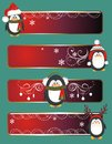 Cute penguin banners christmas with Royalty Free Stock Image