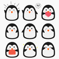 Cute Penguin Emojis Vector Set