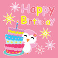 Cute penguin girl smiles beside birthday cake cartoon, Birthday postcard, wallpaper, and greeting card