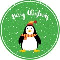 Cute Penguin happy merry christmas card on green background vector illustration