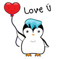 Cute penguin with ice on head and red balloon in a heart shape vector illustration cartoon Royalty Free Stock Photo