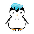 Cute penguin with ice on head vector illustration cartoon Royalty Free Stock Photo