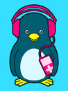 Cute penguin with music player and headphones Royalty Free Stock Photo
