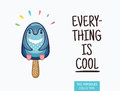 Cute penguin popsicle illustration. Vector ice cream Royalty Free Stock Photo