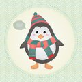 Cute penguin in textured frame design illustration vector greeting card retro vintage cartoon Royalty Free Stock Photography