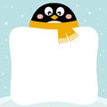Cute penguin with winter blank banner Royalty Free Stock Photography