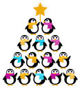 Cute Penguins creating Christmas Tree Stock Photography