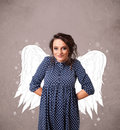 Cute person with angel illustrated wings on grungy background Royalty Free Stock Photos
