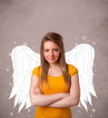 Cute person with angel illustrated wings