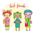Cute pet friends illustration, cats and bunny.
