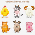 Cute pets animals in one set, simple egg-shaped