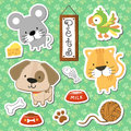 Cute pets scrapbook stickers set of baby animals on seamless pattern background in vector format very easy to edit individual Royalty Free Stock Photo