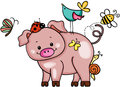 Cute pig with animal friends
