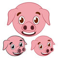 Cute pig cartoon head set Stock Photos
