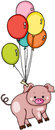 Cute pig flying with balloons