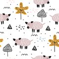 Cute pig hand drawn seamless pattern vector illustration. Trendy scandinavian drawing on white background. Ready for fashion Royalty Free Stock Photo