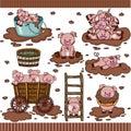Cute pig in mud set digital elements Royalty Free Stock Photo