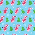 Cute pig seamless pattern on a blue background.
