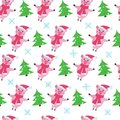 Cute pig seamless pattern on a white background. Royalty Free Stock Photo